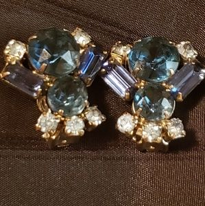 Vintage high end silver blue stone clip earrings